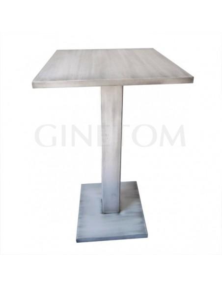 Mesa alta pie central madera 852 lacado blanco patinado negro