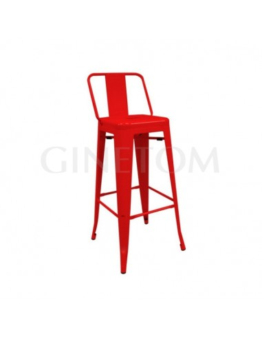 Taburete industrial Tolix replica con respaldo rojo