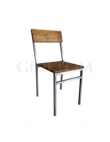 Silla vintage Detroit en metal y madera