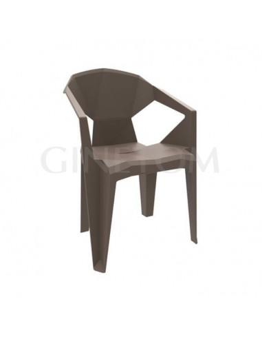 Silla Delta con brazos polipropileno color chocolate