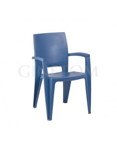Silla Atenas de plástico con brazos color azul