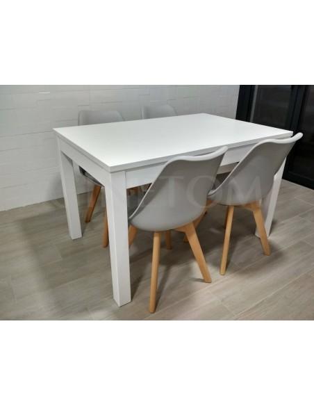 Mesa de madera ref 710 vertice diseño moderno lacado en blanco