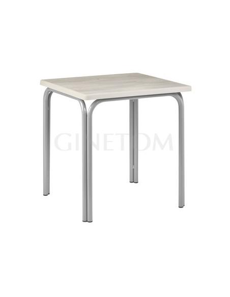 Mesa terraza color  aluminio con tablero sevelit roble nautico