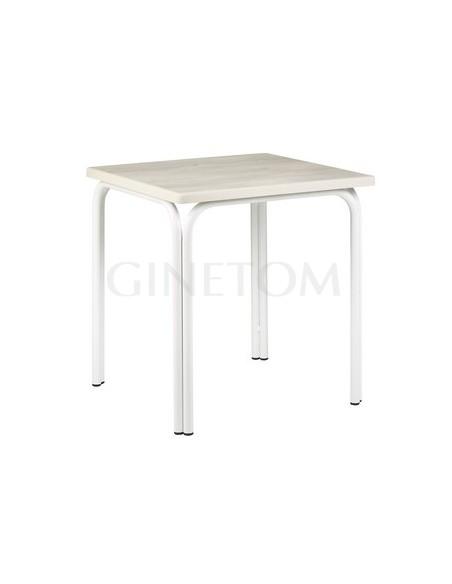 Mesa terraza color blanco con tablero sevelit roble nautico