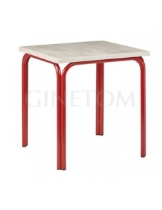 Mesa terraza color rojo con tablero sevelit roble nautico