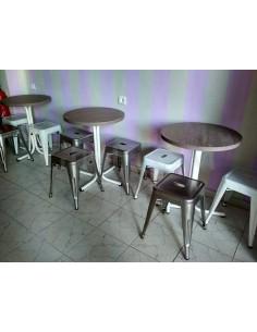 Mesa pie central acero blanco economico con tablero melamina