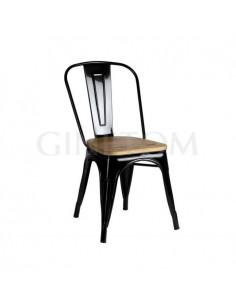 Silla Tólix acero negro con asiento de madera color roble
