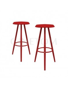 Taburete industrial Baltimore metal rojo