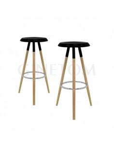 Taburete nordico tomelloso asiento negro, estructura madera y aro cromado