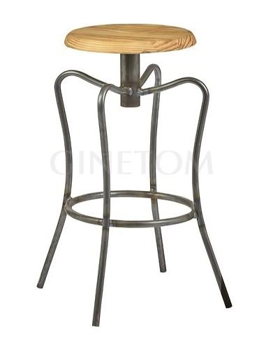 Taburete industrial Londres color negro transparente y asiento color natural