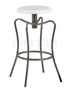 Taburete industrial Londres color negro transparente y asiento color blanco