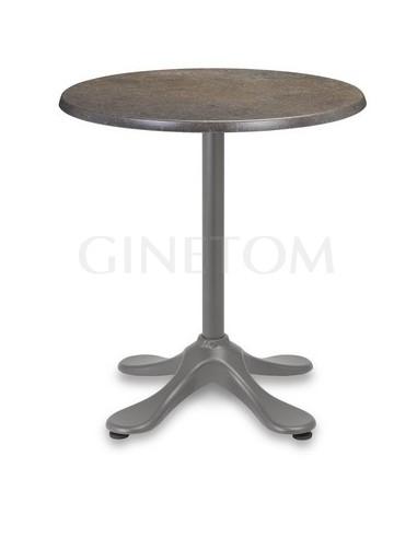 Mesa pie central de aluminio Oliva con tablero werzalit