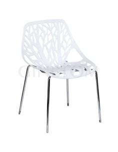 Silla Diseño Teide polipropileno blanco y estructura acero cromado