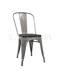 Silla Tólix acero gris con asiento de madera oscura