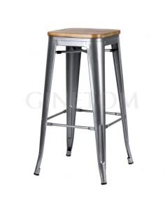 Taburete Tolix acero gris con asiento madera