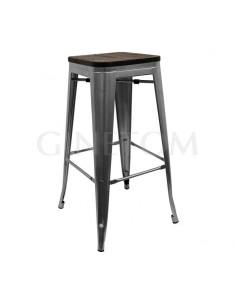 Taburete Tolix Acero gris con asiento madera oscura