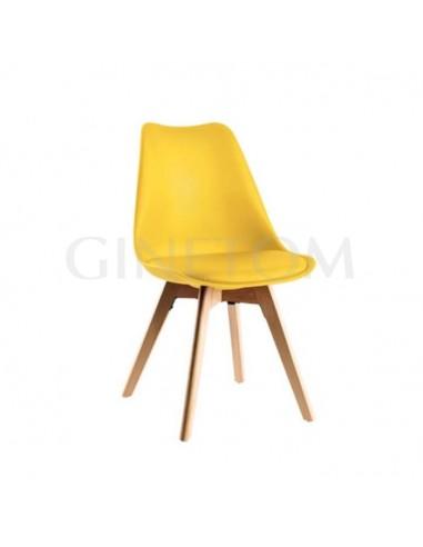 Silla Maine vintage hostelería plástico color amarillo