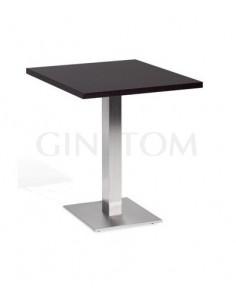 Mesa pie central acero inox con tablero madera