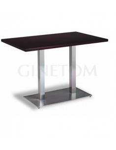 Mesa pie central doble inox con tablero madera