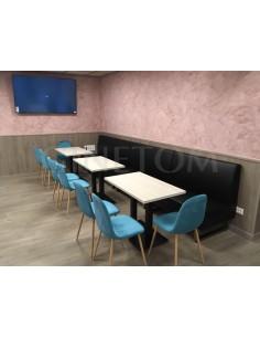 Sofa tapizado polipiel negro para hosteleria