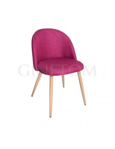 Silla Lucca tapizada en tela color rosa