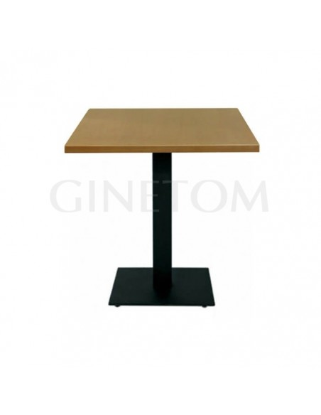 Mesa pie central acero con tablero madera