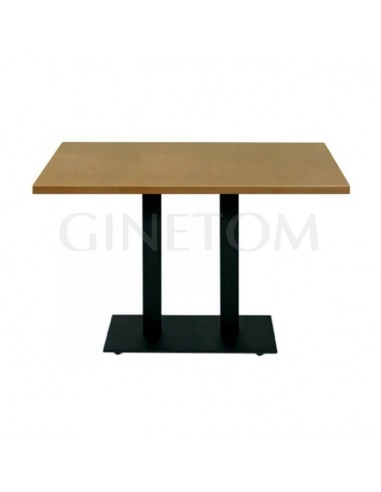 Mesa pie central doble hierro con tablero madera