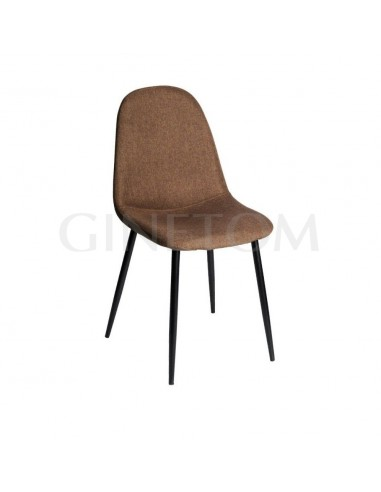 Silla tapizada Parma tela color marron