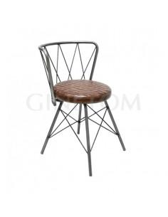 Silla retro Skoll natural con asiento polipiel cuero para bares y restaurantes