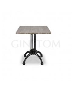 Mesa pie central aluminio Alicante con tablero melamina color roble