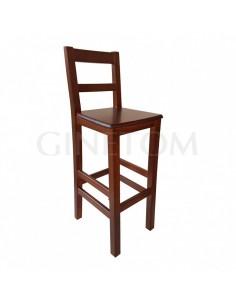 Taburete madera con respaldo Burgos con asiento madera para hosteleria