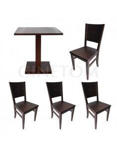 Pack 5: Mesa de madera pie...