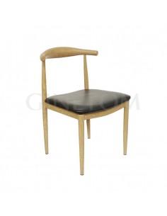 Silla diseño elbow acero imitacion madera con asiento negro