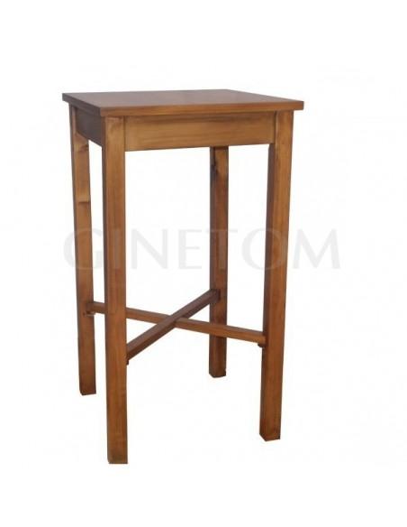 Mesa alta de madera con cruceta de refuerzo para hosteleria