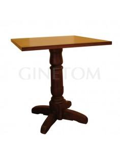 Mesa de madera pie central torneado ref 748 para bares y restaurantes