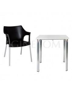 Pack 3: Mesa Aluminio 2 70X70 + 4 Sillas Hosteleria Pole